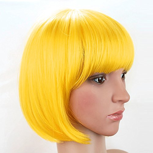 Arich Women Sexy BOBO Head Style Straight Bang Short Wigs Hairnet Hair Cap (Yellow) from Arich