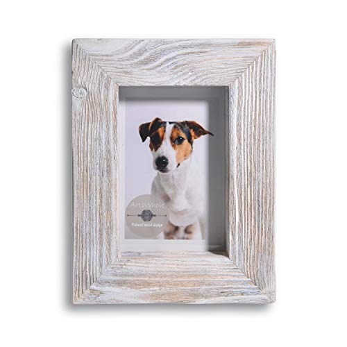 Artswhole White Rustic Picture Frame 7x9 - Natural Solid Distressed Barn Wood (1.6