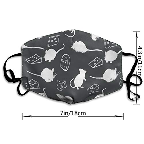 AllCOVER Rat Cheese Shadow Pattern Anti Dust Face Mouth Cover Mask Respirator - Dustproof Anti-Washable - Reusable Masks Respirator Windproof Mask