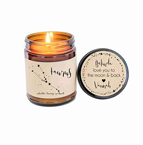 Taurus Zodiac Candle Zodiac Gifts Birthday Gift Birthday Candle Personalized Soy Candle Pisces Gift Star Candle Star Sign Gift for Her