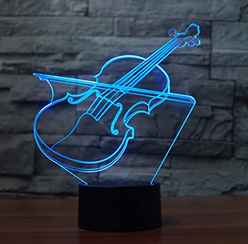 3D Bedside Night Light,WONFAST 7 LED Colors Change Optical Illusion Acrylic Lamp Touch Table Desk Light USB and Battery Operated for Boys Girls Birthday Christmas Halloween Gift (Violin)