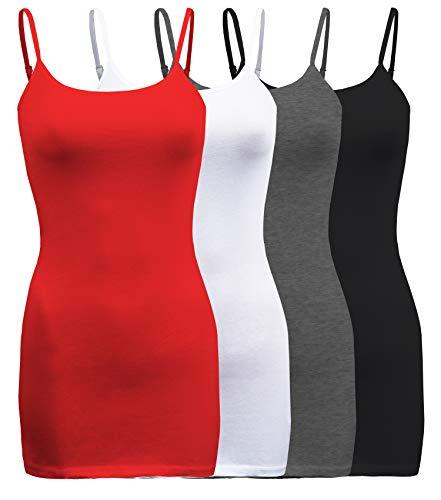 ShezPretty 4 Pack - Women's Basic Cami with Adjustable Spaghetti Straps Tank Top (Small, Bright Coral/White/Black/H.Grey)