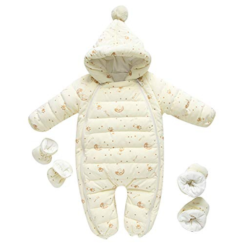 famuka Baby Down Snow Suit with Gloves and Shoes Hooded Toddlers Puffer Outerwear Warm Velvet Coat 6-24M