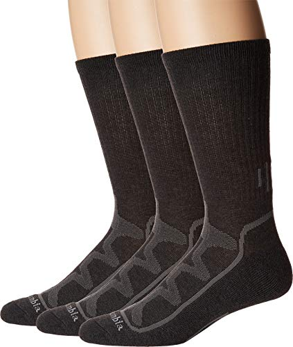 Columbia Men's Poly Rib Crew w/Mesh Vent 3-Pack Charcoal 10-13 (Shoe Size 6-12 US Men's)