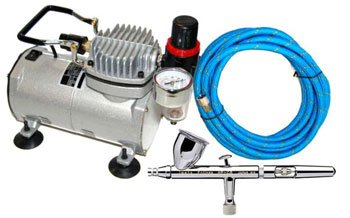 Iwata 4207 HP-CS .35mm Eclipse Airbrush Kit With Airbrush Depot 1 Year Warranty Tankless Compressor and 6 Foot Air Hose Set by Iwata