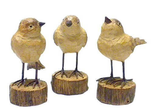 Creative Co-op Rustic Carved Wood-Look Resin Birds on Stump Bases - Set of 3, Tan, 4.5