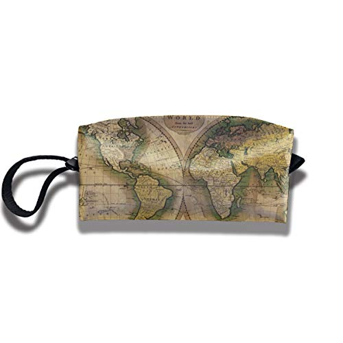 Pullma Toiletry Bag Atlas World Map Cosmetic Pouch,Clutch Bag,Portable Travel Handle Organizer for Women Teens Girls