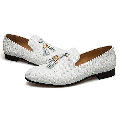 Men's Vintage Velvet Bv Embroidery Noble Loafer Shoes Slip-on Loafer Smoking Slipper Tassel Loafer (10 M US, White)