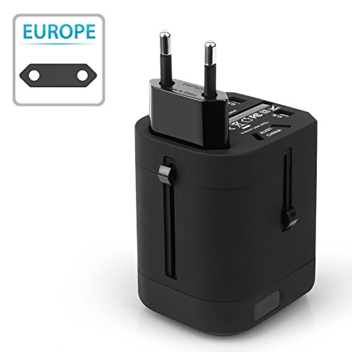 Insten Universal Worldwide Travel Adapter Wall Charger Power Plug AC Adapter with Dual USB Charging Ports for US/EU/UK/AU International Cellphone Laptop, Black by INSTEN (Image #6)