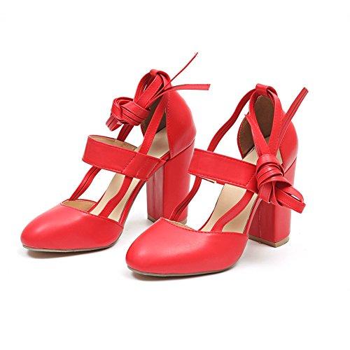 Talons Bretelles xie Modèles à Taille Femmes Red Lanières la Épais Hauts avec Croix Ronde Cheville Été 2018 Grande Explosion Tête Sandales 1OrW1a0