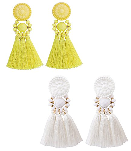 boderier Bohemian Statement Thread Tassel Chandelier Drop Dangle Earrings with Cassandra Button Stud (White and Yellow (set)) (Hoop Dangle Chandelier Earrings)