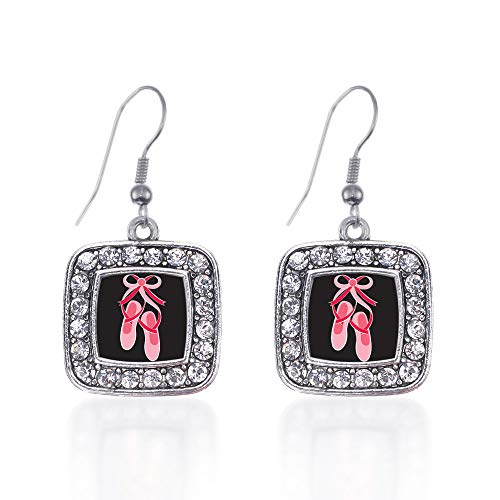 (Inspired Silver - Ballerina Slippers Charm Earrings for Women - Silver Square Charm French Hook Drop Earrings with Cubic Zirconia Jewelry )
