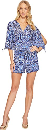 Lilly Pulitzer Women's Bryce Romper Bright Navy TAVERNA Tile All Over (Lilly Pulitzer Tie)