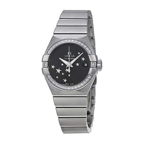 (Omega Constellation Chronometer Star Black Dial Stainless Steel Ladies Watch)
