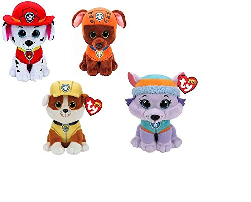 Ty Paw Patrol Beanie Babies - Set of 6! Marshall, Chase, Skye, Rocky, Rubble and Zuma! ()