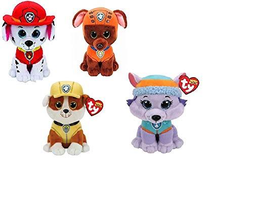 Ty Paw Patrol Beanie Babies - Set of 6! Marshall, Chase, Skye, Rocky, Rubble and Zuma! (Beanie Baby Dog Set)