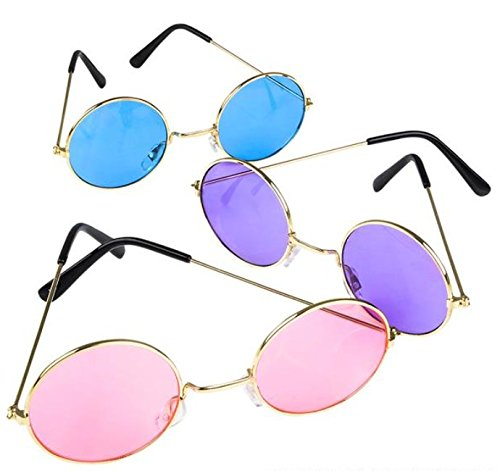 John Lennon Colored Sunglasses 3 Pairs (colors - Pair 3 Sunglasses