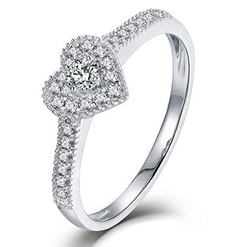 Forever Love Heart Shape 18K White Gold Engagement Genuine Ntural Diamond Ring Diamond 18k White Gold Heart Ring