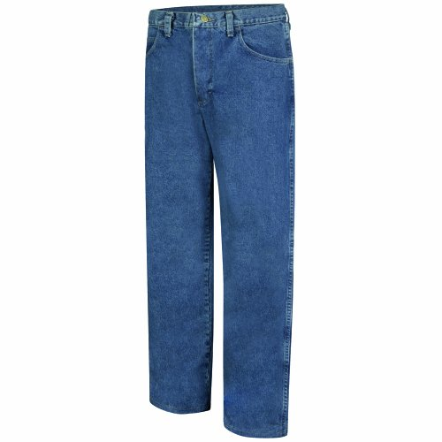 Bulwark Flame Resistant 14.75 oz Cotton Excel FR 36 Waist and 30 Inseam Loose Fit Stone Washed Denim Jean, Stone-wash, 36 Waist and 30 Inseam