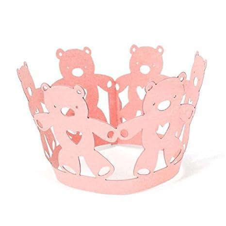 rosenice 50pcs moldes para cupcakes magdalenas Gateau molde (oso corazón rosa)