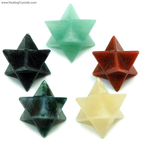 Merkaba Assortment #4 - Discount Packs - (Blue Aventurine, Yellow Aventurine, Orange Aventurine, Moss Agate, Pink Aventurine) - 5pc. Set (Yellow Moss Agate)