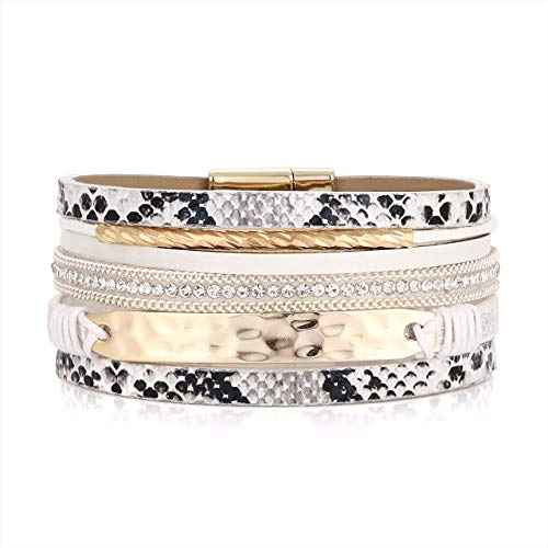 (PHALIN Leather Wrap Bracelet for Women Crystal Wide Cuff Bracelets Multi-Layer Leopard Bangles Wristbands for Girls (D White))