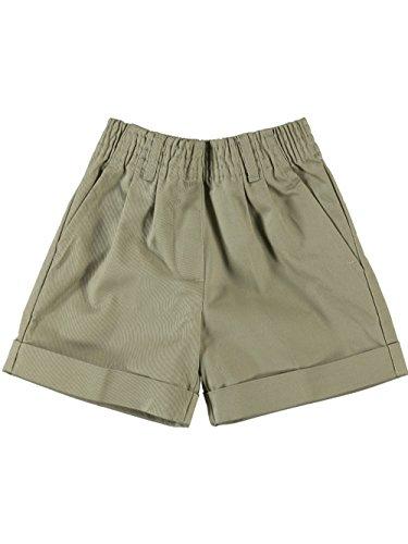 Universal School Uniform Khaki Shorts (Little Girls' Toddler Basic Pleated Front Shorts w/ Adj Waist + Hook & Eye close by Universal)