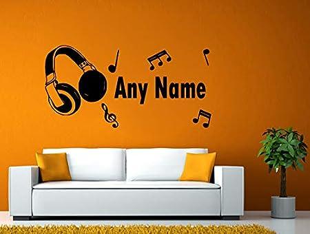 MUSIC SCORE MUSIC PERSONALISED HEADPHONES WALL VINYL STICKER