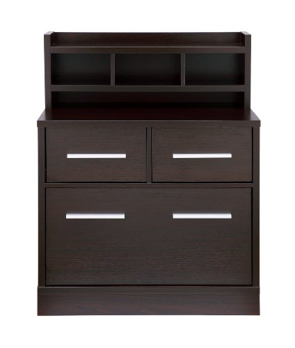ioHOMES Lofgren Multi-Storage File Cabinet Work Station, Cappuccino Finish Drawer Designer Lateral File