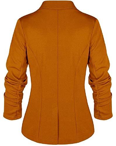 Confortevole Blazer Donna 3 Cappotto Fit Autunno Button Elegante Tailleur Monocromo Unico Bavero Lunga Moda Giacca Coat Slim Manica Da aaUxrwp