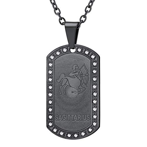 - U7 Jewelry Stainless Steel/18K Gold Plated Chain Dog Tag Pendant Men Women Zodiac Necklace (Black Sagittarius)