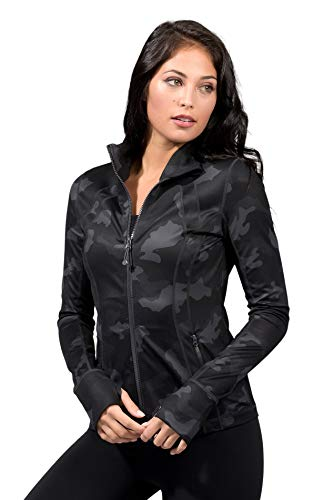 Yogalicious Lux Womens Running Jacket - Black Camo Lux - Medium