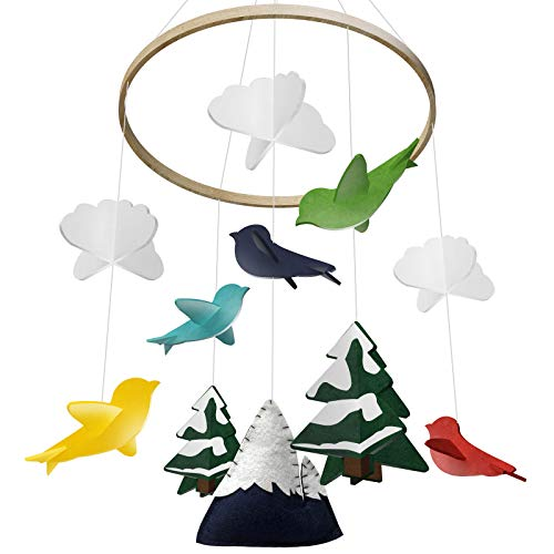 Baby Crib Mobile by Giftsfarm, Woodland Baby Mobile, Crib Mobile for Boys and Girls Nursery Décor (2019 Newest - Music Mountain 25