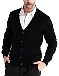 Men's Relax Fit V-Neck Cardigan Cashmere Wool Blend Button Down with Pockets