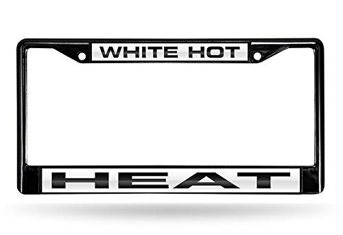 "Rico Industries NBA Miami Heat Laser Cut Inlaid Standard Chrome License Plate Frame, 6"" x 12.25"", Black"