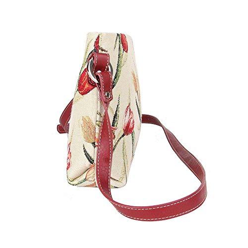 Borsetta donna Signare alla moda in tessuto stile arazzo a spalla borsa messenger a tracolla floreale Tulipano bianco