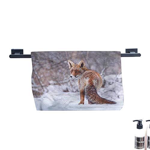 Dry Fast Towel,Fox,Snowy-Country-Furry-Animal.,Gym Swim Hotel Use W 27.5