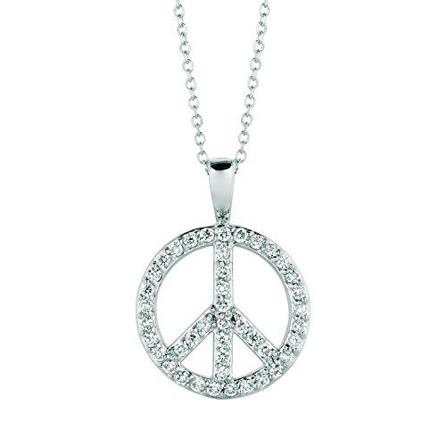 14K White Gold Diamond peace sign Necklace - 0.34ctw. Diamond