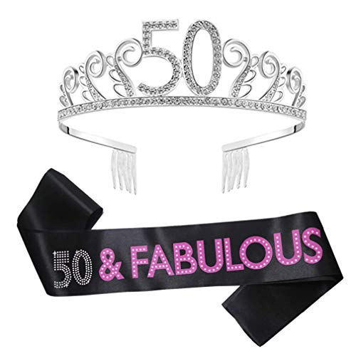 50th Birthday Tiara and Sash, Happy 50th Birthday Decorations Party Supplies, 50 & Fabulous Satin Sash and Rhinestone Birthday Crown for 50th Birthday Party Supplies 50th Birthday Cake (50th Birthday Sashes And Tiaras)