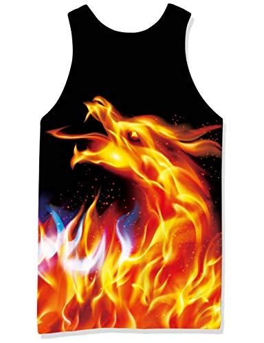 RAISEVERN 3D Print Dragon Sleeveless Tees Red Flame Tank Top for Mens Funny Beach Workout Surf Vest Black XL