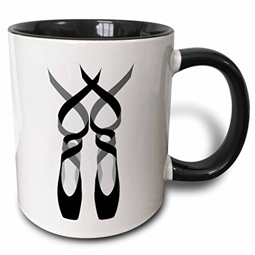 3dRose 219662_4 Cute Ballet Pointe Shoes Mug, 11 oz, Black