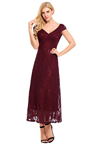 - ANGVNS Women's Cap Sleeve V-Neck Long Evening Wedding Party Dress-Wine Red L