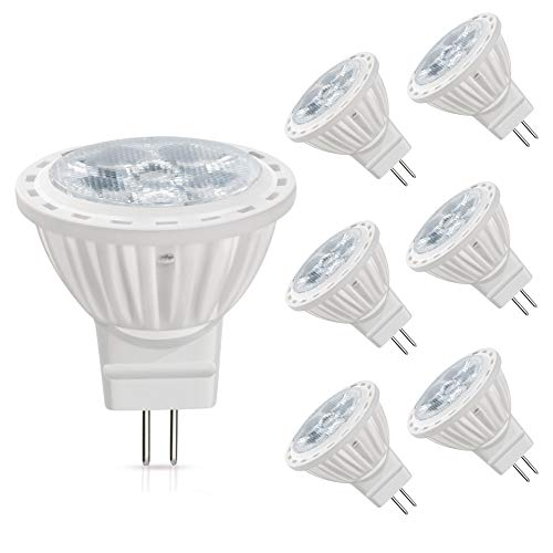 (MR11 LED Bulbs 12 Volt AC/DC, 5W 400lm, 35W Halogen Bulbs Equivalent, 6000K White Light, 36°Beam Angle,Pack of 6)