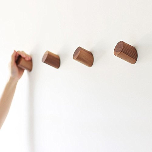 Natural Wooden Coat Hooks Wall Mounted Vintage Single Organizer Hangers, Handmade Craft Hat Rack, (Black Walnut, pack of 2)