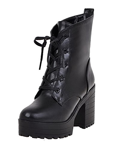 AgooLar Women's PU Solid Lace-up Round-Toe High-Heels Boots Black ypy1cw