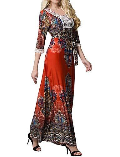 Maxi Orange Jalabiya Para Talla Bajo Grande Mujer Trabajo Liso Color Vestido De Yfltz Talle Ot8SBS