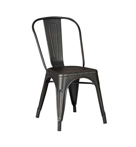 AC Pacific Cole Collection Modern Style Metal Dining Room Kitchen Bar Chairs Set of 2 , Distressed Black