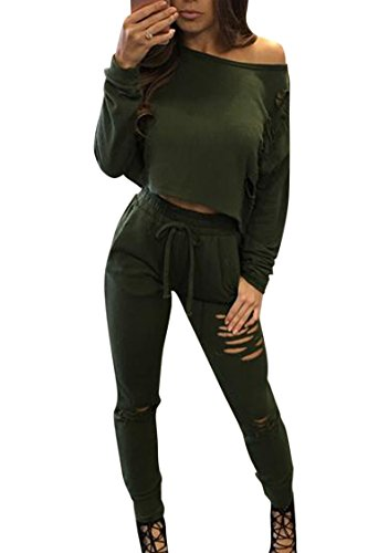 Sweater Suits (Long Sleeve High Waist Legging Pant Set 2 Piece Active Tracksuit Sweater Green S)