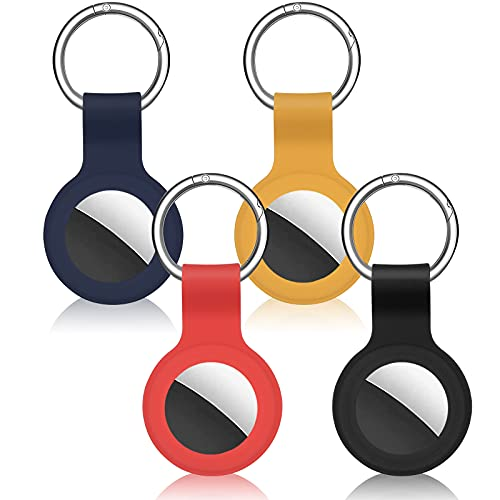 Cheermal 4 Pack Silicone Case Compatible with AirTags(2021) Anti-Scratch Protective Cover Accessory for AirTag Keychain (Red, Yellow, Blue, Black).