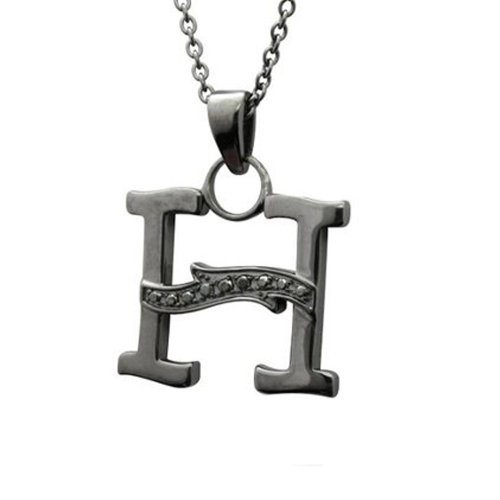 Men's Black Sterling Silver Alphabet Initial Letter H Black Diamond Pendant Necklace (0.06 Carat)